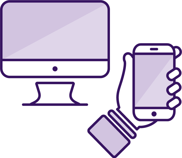 Icon of a PC and a hand holding a mobile device