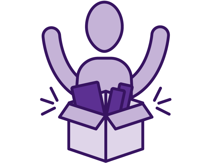 Icon of a person opening a box containing chocolates