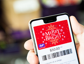 An image of a Purdys e-gift card on a phone