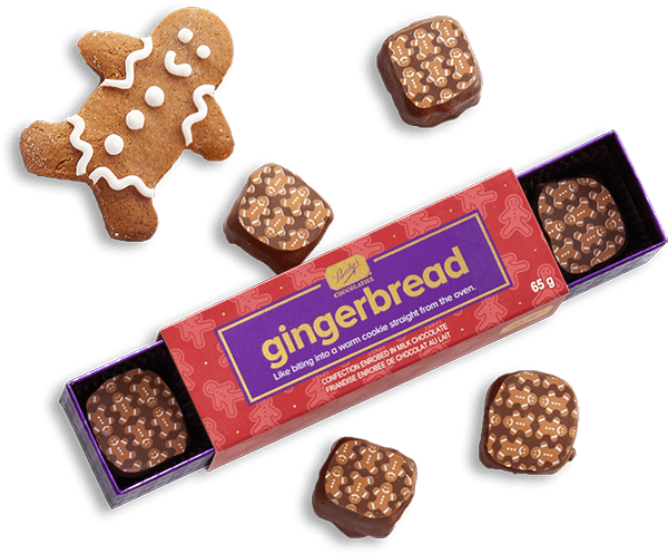 An image of Gingerbread chocolates with a gingerbread person